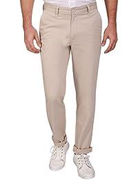 Barata Men's Dobby 100% Cotton Casual Cream Trouser Regular Fit, 100% Cotton Trouser For Men