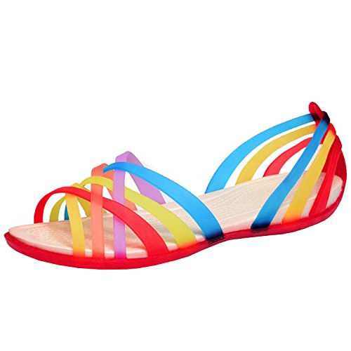 Oasap Women's Multicolor Strappy Slip-on Flat Jelly Sandals Red