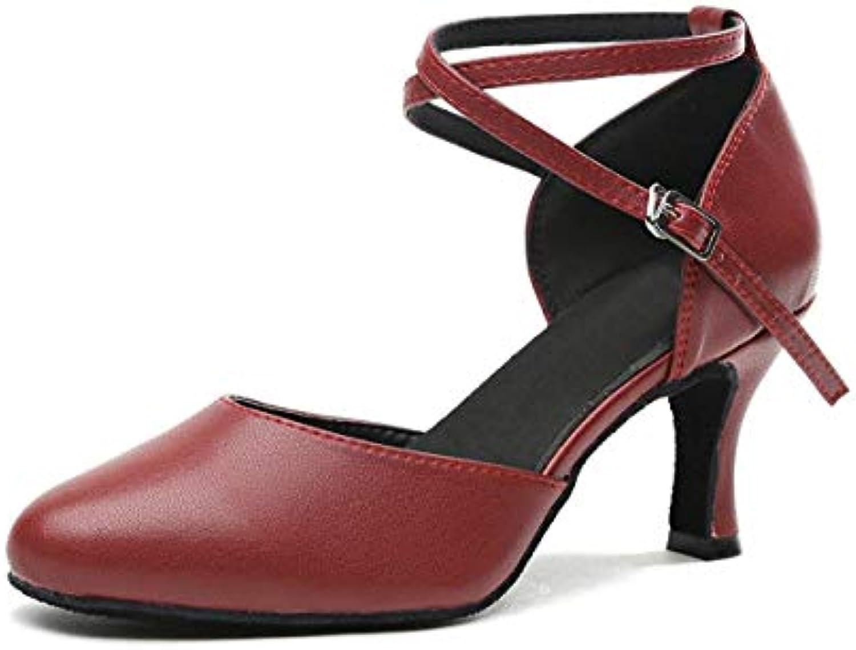 Qiusa Cintura da Donna Cross Strap in Pelle Coloree borda Salsa da Ballo per Sala da Ballo 6 UK (Coloreee   -, Dimensione... | Elegante e divertente  | Scolaro/Ragazze Scarpa