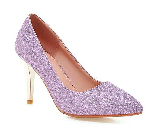 Sapatos Femininos De Salto Alto Pontas Do Dedo Do Pé-court-sapatos Doce Primavera E Verão Lantejoulas Sapatos Boca Rasa Noivo Sapatos Roxos