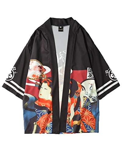 Preisvergleich Produktbild Liangzhu Japanisch Stil Drucken Mäntel Robe Yukata 3 / 4 Ärmel Lose Cardigan Für Unisex Schwarz XL
