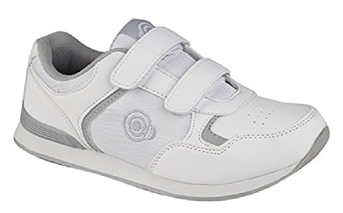 DEK LADY SKIPPER Womens Ladies Velcro Bowling Shoes/Trainers White/Grey Test