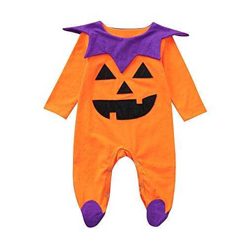 (Riou Kinder Langarm Halloween Kostüm Top Set Baby Kleidung Set Neugeborenes Kleinkind Infant Baby Mädchen Jungen Strampler Overall Halloween Kostüm Outfits (80, Orange))