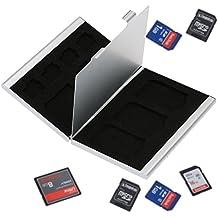 KKmoon Aleación de aluminio Caja Estuche de transporte para Tarjeta de Memoria de Almacenamiento Caja Protectora Portátil para Tarjeta del TF SD