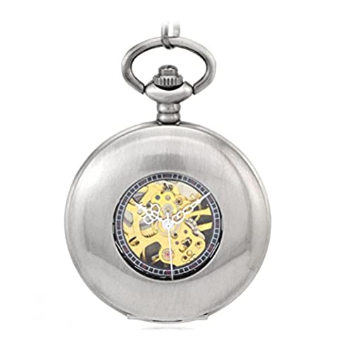 JIA&YOU Retro Rashad couvercle creux bronze blanc Pocket Watch hommes et femmes ¨¦l¨¨ves montre m¨¦canique
