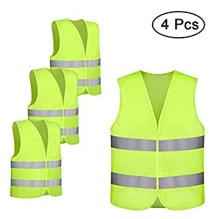 Safety Vest, otumixx 4 Pack High Visibility Safety Vest with 360° Reflective Stripes Universal Fit Hi-Vis Vest for Maintenance Workers Security and Construction Workers Runners Cyclists - Yellow