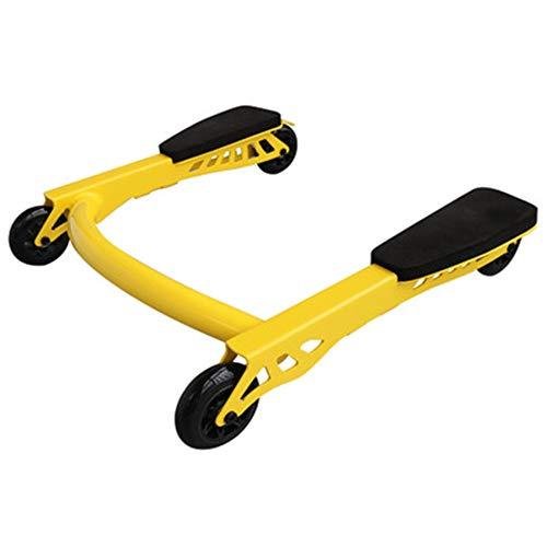 NBLYW Rollenrad-Trainingsgerät, 4 Räder Innovatives ergonomisches Bauchrollen-Trainingsgerät, Heim-Gymnastikrolle mit Knieschoner Gelb (Workout Ausrüstung Bars)