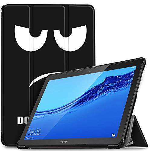 IVSO Coque Etui Housse pour Huawei MediaPad T5 10, Slim Cover Housse de Protection avec Support Fonction pour Huawei MediaPad T5 10 10.1 Pouce 2018, Black Eye