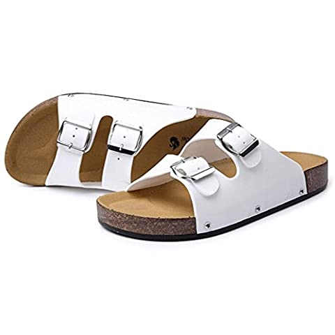 OverDose Men's Slippers Twin Strap Adjustable Buckle Open-Backed Sandals (UK 7, White)