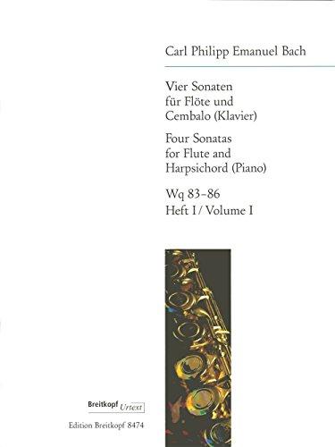 4 Sonaten für Flöte und Cembalo, Wotq 83-86, Heft 1:  D-Dur / E-Dur. Flöte, Klavier (Flöte Klavier Sonaten Für Und Vier)