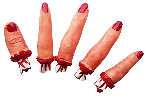 Cultica 5 abgeschnittene blutige Frauen Finger rot lackierte Nägel Halloween Horror