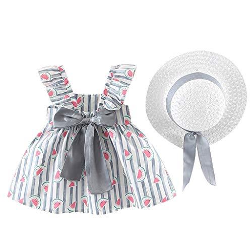 KIMODO Baby Mädchen Blumendruck Gerüscht Rundhals Kleid Ärmellose Urlaub Sommerkleid Kleinkind Prinzessin Kleidung Outfit + Hut Set -