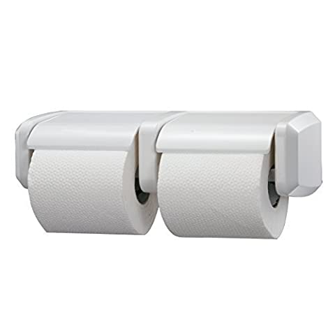 Washroom Hub Heavy Duty Double Duo Toilet Roll Holder - Standard Design For Bathroom - White by Washroom Hub