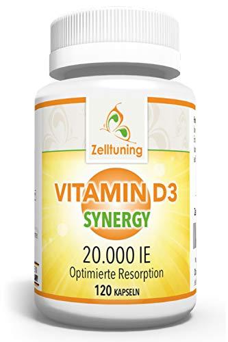 Zelltuning Vitamin D3 Synergy Hochdosiert - 20.000 IE pro Depot-Kapsel - Vitamin D konzipiert in einer Omega-3-Fettsäuren-Matrix - Optimal Bioverfügbar - 120 Kapseln, Ohne Magnesiumstearat!