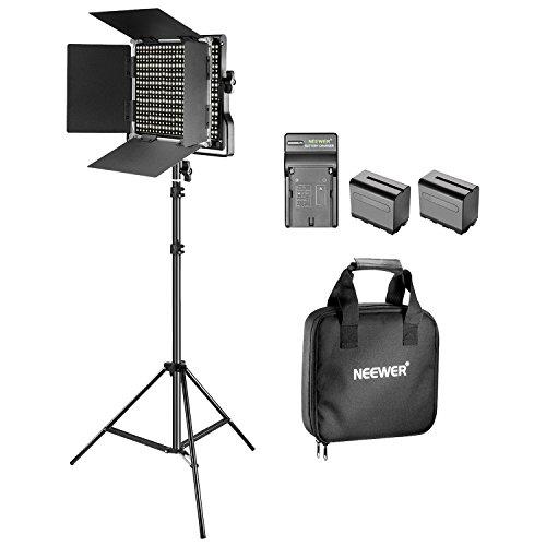 Neewer Luce Video Bi-colore LED e Kit di Supporto con Batteria e Caricabatterie-Dimmable 660 LED con Staffa U e Barndoor(3200-5600K, CRI 96+), piedi 3-6,5 piedi per Studio, Riprese YouTube