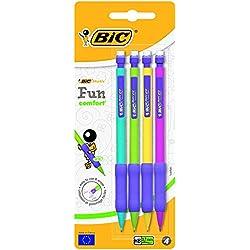 BIC Matic Fun Comfort Portaminas Automático HB (0,7 mm) - Diseño en colores Surtidos, Blíster de 4 unidades
