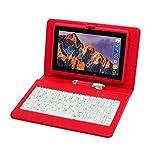 Tablet PC 7 Pollici,Computer portatile Quad Core Con Tastiera e Penna, Tableta memoria RAM da 512MB + 8GB,Fotocamera integrata Dual Camera,WIFI,Bluetooth (Rosso)