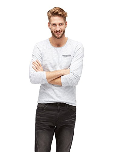 TOM TAILOR Herren Langarmshirt T-Shirt With Special Stripe White