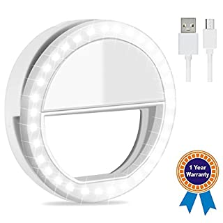 Emwel USB Rechargeable White Beauty Flash Fill in Selfie Led Phone Ring Light