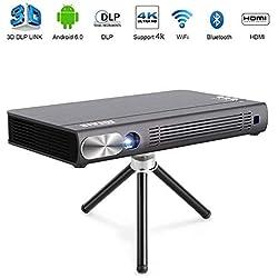 """JOEAIS Mini Projecteur, WiFi 3D Portable Vidéoprojecteur 200ANSI 300"""" Grande Photo BT4.0 Soutien 1080P 4K HDMI USB Compatible avec Android, iPhone, PC, TV Stick, Contrôleur De Jeu"""