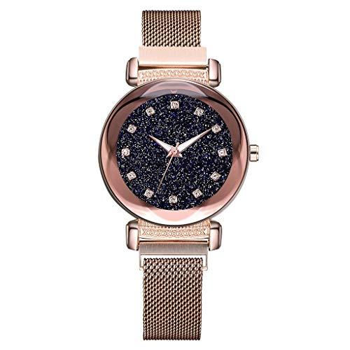 VECOLE Uhren Damen Coole Sternenhimmel Zifferblatt Strass Inlay Magnetschnalle Uhr Mode Armbanduhr Quarz Analoganzeige Uhr(Rose Gold) - Uhren Damen Diamanten Ebel