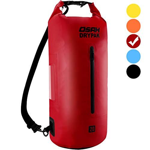 OSAH DRYPAK Dry Bag Wasserdichter Packsack wasserdichte Tasche Sack Beutel Lang Schulter Verstellbarer Schultergurt für Kajak Boot Angeln Rafting Schwimmen Wassersport Treiben (Rot, 5L)