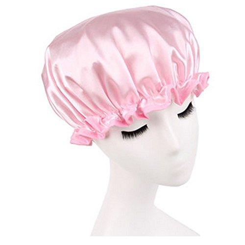 Réutilisable Bonnet de douche imperméable à l'eau Spa bonnet de bain, Rose