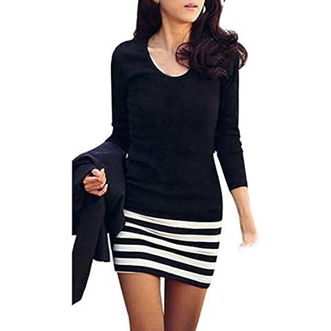 Amlaiworld Donna manica lunga girocollo a righe Slim Fit vestito (XL)