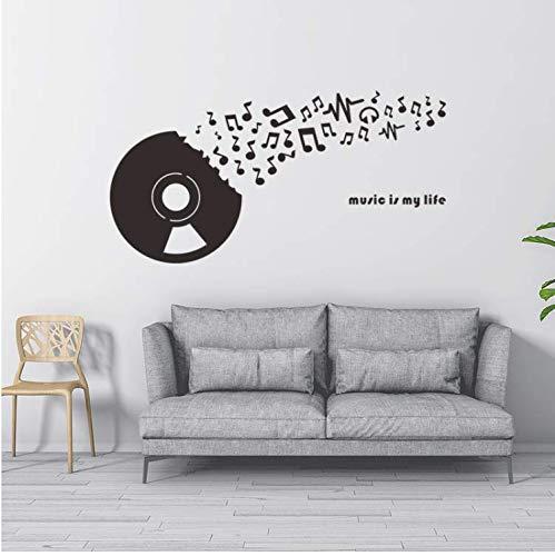 Preisvergleich Produktbild ZHUWall Rekord Disc Cd Musik Wandaufkleber Tanz Klassenzimmer Bar Abnehmbare Muurstickers Vinyl Kunst Wand Wohnkultur Selbstklebende Wallpaper58Cm X 65 cm