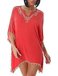 Jela Damen Bluse Tunika Poncho Flederrmaus Oversize Chffon V-Ausschnitt Top Shirt