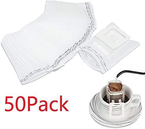 HOUSON 50 Stück KaffeeFilter, Einweg Kaffee Tee Drip Filtertüten mit hängenden Ohr, Kaffee-Papier-Filter für die meisten Tassen, Reisen/Home/Office/Camping