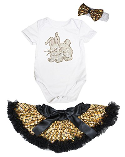 Petitebelle Easter Rabbit White Romper Gold Scales Mermaid Baby Skirt Nb-12m (0-3 Months) (White Rabbit Kleinkind Kostüm)