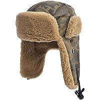 Zxcvb Hombres Invierno Al Aire Libre Frío Invierno Cálido Sombrero y Terciopelo Engrosamiento Personalidad Orejeras de Camuflaje (Color : Marrón, tamaño : 59.5cm)