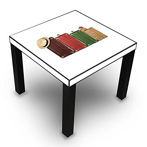 Banjado Beistelltisch Design Tisch 55x45x55cm Wohnzimmertisch Schwarz Mit Motiv Koffer