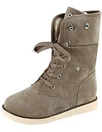 Tefamore Zapatos planos de Mujer Botines Botas de Otoño Invierno (Tamaño:EE.UU. :9.5, Caqui)