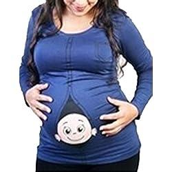 LANMWORN Las Mujeres Divertidas bebé Mirando a escondidas Camiseta Embarazada Tapa Sudadera con Capucha, Primavera otoño Moda Lindo Historieta Maternidad Sudadera Manga Larga más tamaño.