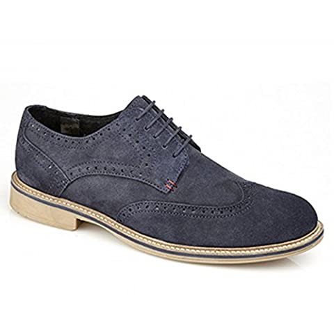 Roamers GODFREY Mens Suede Lace Up Brogue Shoes Navy UK 8