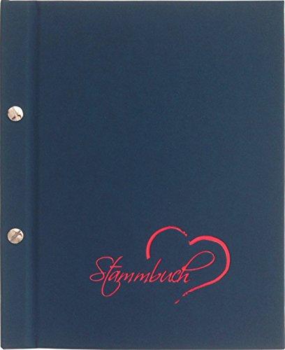 Stammbuch JOLLA, dunkelblau, Lederstruktur, Prägung Schrift und Herz in Rot, Format A5+, Buchschrauben