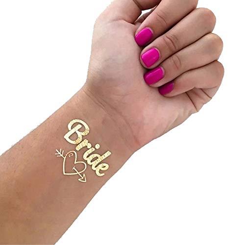 24 pcs Equipo de para juego de tatuaje de Novia a ser, Tatuajes temporales para adherirse a la piel, Accesorios la decoración de la boda Novia nupcial metal dorado soltera Fiesta de despedida (Oro)