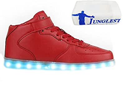 [Present:kleines Handtuch]Weiß EU 44, Sneaker und Herren Farbe Wechseln JUNGLEST® Kinder LED-Licht 7 Schuhe Laufschuhe für Damen Mode Sportschuhe aufladen Outdoorschuhe wei