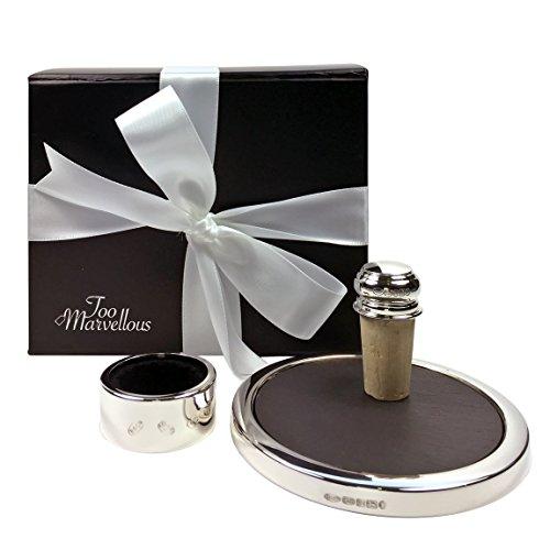 Sterling Silber und Schiefer Drip Halsband, Flaschenverschluss und Untersetzer Weinliebhaber, Geschenk-Set