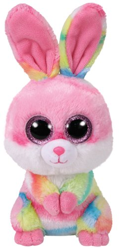 TY 36872 Lollipop, Hase Pink/Farbig 15cm, mit Glitzeraugen, Beanie Boo's, Ostern Limitiert (Beanie Große Boo Runde)