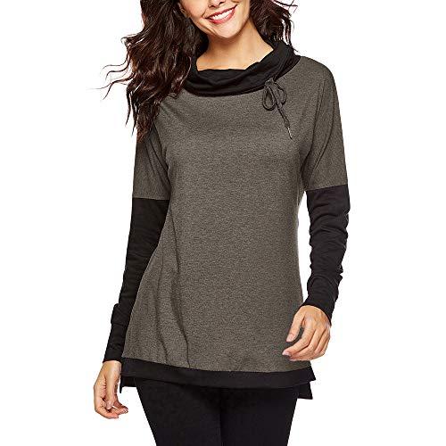 GreatestPAK Pullover Damen Stitching Langarm Drawstring Top -