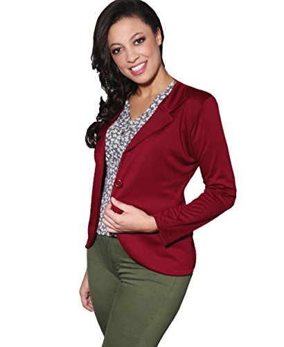 KRISP 3558-WIN-16: Smart Casual Stoff Fashion Blazer (Weinrot, Gr.44)