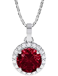 Stardust 1.35ct Ruby and Diamond Halo Silver Pendant (WHITE GOLD)