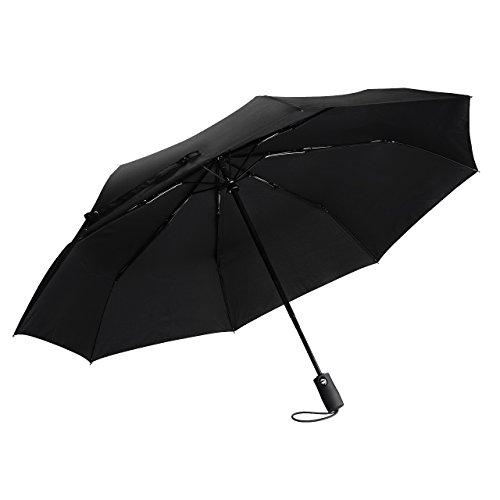 Topop Parapluie de voyage automatique Noir, Pliable Ultraléger, 95 cm, 3 plis, 8 côtes Portable et Compact pour Voyage