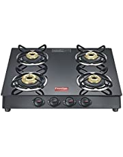 Prestige Marvel Plus Glass 4 Burner Gas Stove (Black)