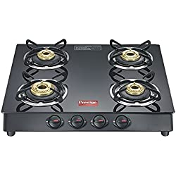 Prestige Marvel Plus Aluminum 4 Burner Gas Stove, Black
