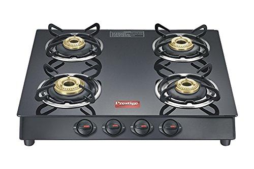 Prestige Marvel Plus Aluminum 4 Burner Gas Stove, Black