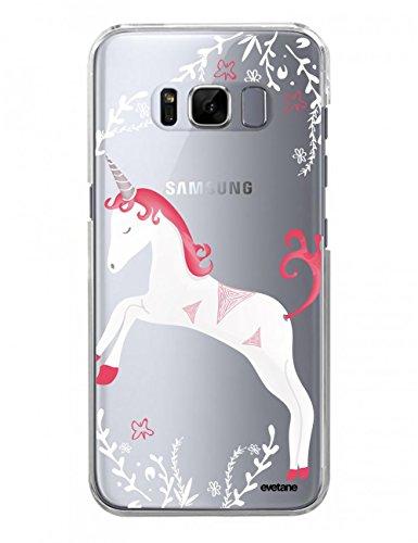 Evetane Coque Compatible avec Samsung Galaxy S8 Plus Transparente Rigide Solide Licorne Ecriture Motif Tendance